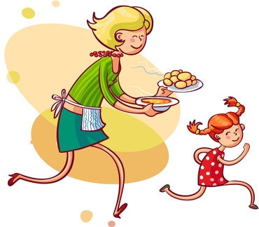 Young mom feeding naughty daughter. Vector illustration